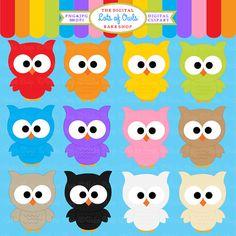 owls clipart digital clip art birds Lots Of by DigitalBakeShop