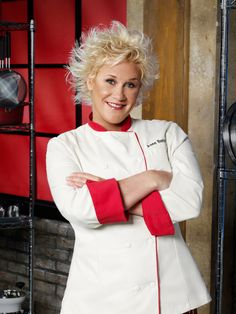Culinary badass: Anne Burrell. I love this woman; I watched her cook her way to a Chopped victory with an eyeful of hot oil. Now THAT'S a BAMF.