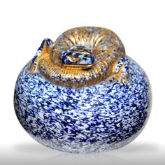 Extremely rare antique Saint Louis gilded salamander on blue and white jasper paperweight.