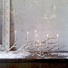 winter branch candelabra
