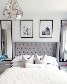 Finally our mirrors are up and I decided to put our prints from downstairs up here instead. Really pleased with how the main bedroom is… Grey Bedroom Design, Master Bedroom Interior, Diy Home Decor Bedroom, Bedroom Furniture Design, Small Room Bedroom, Modern Bedroom, Teen Bedroom, Bedroom Ideas, Small Bedroom Inspiration