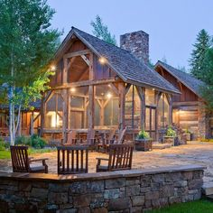 Stunning Contemporary Ranch House Plans with Classic Impression : Rustic Patio Design With Wooden Outdoor Chairs Lazy J Residence Screened Porch Designs, Screened In Porch, Front Porch, Modern Exterior, Exterior Design, Outdoor Rooms, Outdoor Living, Indoor Outdoor, Outdoor Chairs