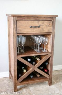 Build this gorgeous DIY wine cabinet in as little as a day with this step-by-step tutorial and printable plans. It's a beautiful addition to any home!