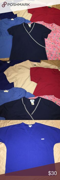 Lot of womens 6 medical dental scrub tops sz: L Thank you for viewing my listing, for sale is a lot of six women's, medical/dental, scrub tops/shirts  All shirts are size L Various brands and various colors  If you have any questions or would like additional photos please feel free to ask  Shirts:   Landau - Blue SB Scrubs - Navy Blue with white stripe Brand unknown (tag removed) - pink & purple floral UA Scrubs - Maroon Maxim - light brown/khaki brown Barco - Navy Blue various Tops