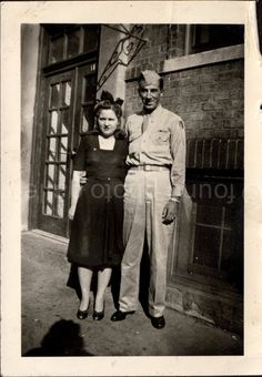 Vintage Photo Soldier and Woman Black & White by foundphotogallery