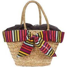 Bolsa PICADILLY Little Marcel. Mala em formato de cestinho, com um laço colorido à volta. A típica mala de praia!