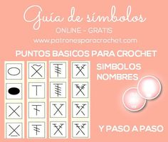 Translations into spanish for the crochet terms - this is shown by symbol as well as the finished crochet stitch.
