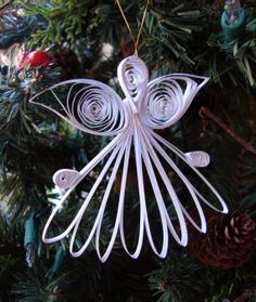 Quilled Christmas Holiday Angel Gift Ornament by HomeHearthGarden, $9.00