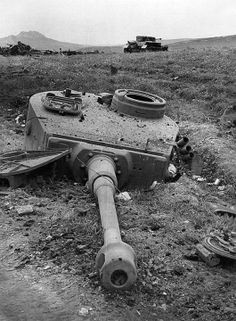 Destroyed German Tiger, it's turret blown clear off it's chassis. This shows how destructive the war was and how dangerous tank operation was.