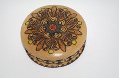 Vintage Round Wooden Jewelry Box Ornament wood box Pyrography Trinket Box Hand Tooled Handmade Box hand carved hand painted Polish Folk box by VintagePolkaShop on Etsy