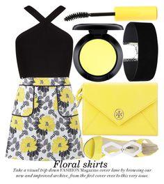 """FLORAL SKIRTS"" by noraaaaaaaaa ❤ liked on Polyvore featuring Tory Burch, BCBGMAXAZRIA, Miss Selfridge, BCBGeneration, MAC Cosmetics, yellow, black, ToryBurch, yellowandblack and Floralskirts"