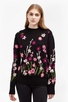 French Connection Floral Garden Embroidered Jumper