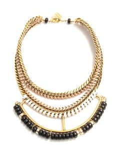 Open spaces chain and leather necklace | Lizzie Fortunato | MA...