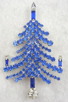 Blue Rhinestone Christmas Tree Brooch