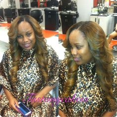 Sew-in side part hair
