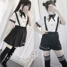 """Cute students embroidered shirts straps shorts/skirts two-piece SE10307 Use code """"moni"""" for 10% off."""
