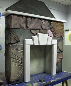 Styrofoam Fireplace Stage Prop.