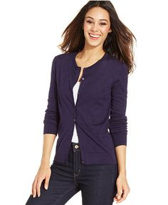 Fitted cardigan, nice color, hits at hip