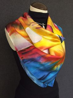Sailing at Sunset - Hand Painted Silk Scarf