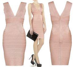 Hervé Leger Nude Pink Bandage Dress