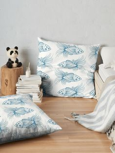 Stylized patterned smiley fish  Floor Pillows