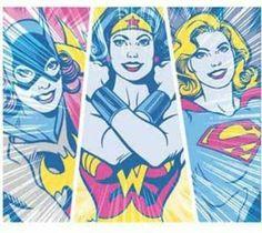 Amazon.com: DC Comics Bat Girl Wonder Woman, and Super Girl Fleece Throw Blanket Afghan: Home & Kitchen
