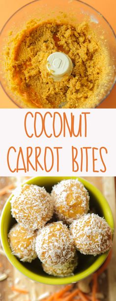 Coconut Carrot Bites (Vegan + Gluten Free) - Quick and easy coconut carrot bites are naturally sweetened and require only 7 ingredients. Perfect for an afternoon energy boost!