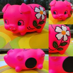 VTG 1960s Retro Hot Pink Ceramic Flower Power MOD Piggy Bank Groovy Made Japan