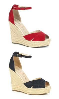 Red suede & denim fabric platform espadrilles with a braided natural jute wedge, open toe front and adjustable ankle strap