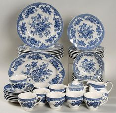 Vintage China Asiatic Pheasant-Blue China, by Johnson Brothers - Blue Willow China, Blue And White China, Blue China, Antique Dishes, Vintage Dishes, Vintage China, Antique China, Blue And White Dinnerware, Blue Dinnerware