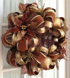 Deco Mesh Wreath Chocolate Brown Gold Poinsettia Door Wreath (Looks more like fall than Christmas to me, but pretty! Christmas Mesh Wreaths, Holiday Wreaths, Christmas Decorations, Winter Wreaths, Spring Wreaths, Wreath Crafts, Diy Wreath, Wreath Ideas, Gold Wreath