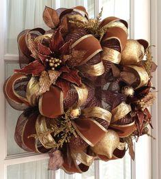 christma wreath, chocolate brown, chocol brown, fall wreaths, deco mesh wreaths, gold poinsettia, brown gold, door wreath, deco mesh christmas wreaths