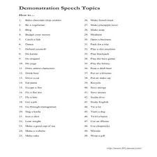 top demonstration speech topics