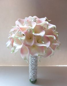 Blush Pink Calla Lily bouquet accented with pearls &