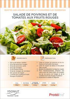 """Pour prendre soin de soi:  1. On doit bien manger, et  2. faire de l'exercice. Pour le 1er point, nous partageons cette recette exotique de Salade Poivrons et Tomates aux Fruits Rouges. Délicieusement surprenante! Pour le 2ème sujet ... faites un """"Pin it""""! ; P"""