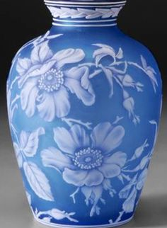 A Webb Cameo [glass] vase, English, butterflies and sprays of white wild roses on light blue ground, leaf decoration at collar and below circa Vase Centerpieces, Vases Decor, Butterfly Lighting, Vase Shapes, Diy Décoration, Antique Glass, Oeuvre D'art, Art Nouveau, Glass Art