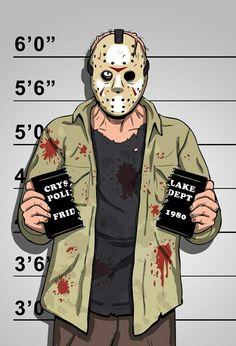 Friday the Jason Voorhees Mugshot Horror Comics, Horror Icons, Theme Halloween, Halloween Horror, Devil Halloween, Halloween Icons, Halloween Drawings, Halloween Movies, Arte Horror