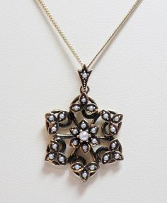9ct Yellow Gold Cultured Freshwater Seed Pearl Flower Cluster Pendant £195.00 Vintage Antique Reproduction Jewellery Contact us at www.facebook.com/ellisondaviesjewellery for more information