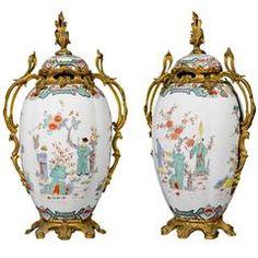 A pair of ormolu mounted Samson porcelain Chinoiserie vases