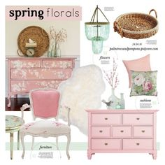 """""""Spring Florals"""" by palmtreesandpompoms ❤ liked on Polyvore featuring interior, interiors, interior design, home, home decor, interior decorating, Pier 1 Imports, Dot & Bo, CB2 and SANDERSON"""