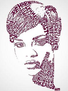 Travail de typo-designer Sean Williams qui a dessiné chaque portraits d'acteurs connus et de pop star : Rihanna