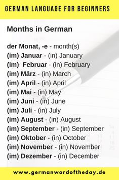 Months in German Most used German words German Language Learning, Language Study, Learn A New Language, Basic German, Study German, German Grammar, German Words, Learning Languages Tips, Foreign Languages