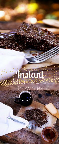 Instant Microwave Brownies - Dairy Free, Gluten Free & Refined Sugar Free. Super easy to make, these brownies are vegan friendly and are very very addictive!!