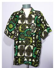 Vintage 1960's Tiki Print Hawaiian Shirt Made By Sterling Mossman's Barefoot In Paradise