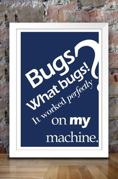 Ever get that feeling that a piece of software always works on your computer but not someone else's? Well, this poster is a poke at that!