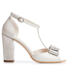 Sandale mireasa albe cu toc gros si funda Peep Toe Heeled Mules, Bridal, Shoes, Collection, Fashion, Sandals, Moda, Zapatos, Bride