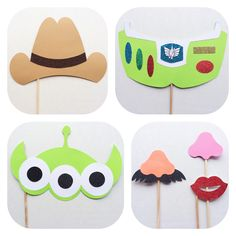 Toy Story Inspired Photo Booth Props; Woody and Friends Photobooth Props; Disney Birthday Party by LetsGetDecorative on Etsy https://www.etsy.com/listing/218310078/toy-story-inspired-photo-booth-props