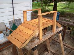 DIY Pallet Foot Bridge For Your Garden Or Small Stream just keeping my self busy pallet foot bridge garden small stream, diy, outdoor living, pallet, woodworking projects