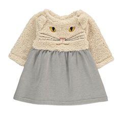 Milk on the Rocks White Cat Dress-listing Girls Short Dresses, Cat Dresses, Toddler Girl Outfits, Little Girl Dresses, Kids Outfits, Baby Cardigan, Cardigan Bebe, Kids Wear, Children Wear