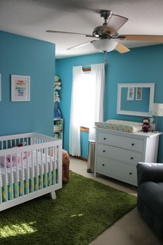 Nursery: Babyletto Hudson crib, star wars art, ikea hemnes dresser, grass green rug, blue and white by lea
